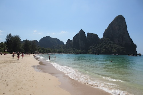 View of Thai Wand Wall Railay Beach Thailand