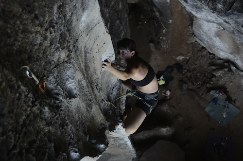 Me climbing the 'Best Route in Minnesota', Escher Wall, Railay Beach, Thailand. Photo cred: Leonard Chong