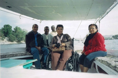 Tabassum with her Egyptian guides cruising the Nile Aswan Egypt 2007