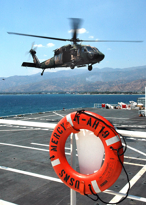 helicopter landing on deck