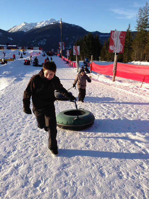 Tubing on Family Day at the CocaCola Tube Park, Whistler, BC