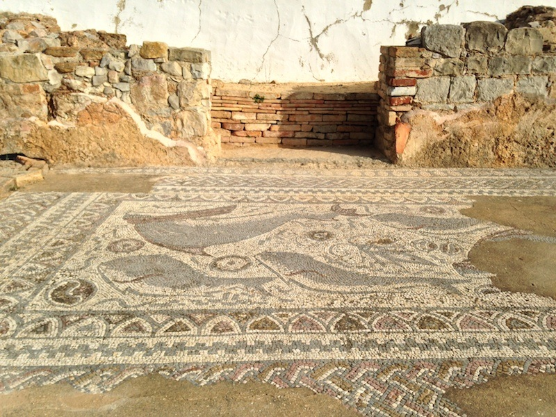 The mosaics at the Milreu ruins are particularly well-preserved, and are roped off to protect them