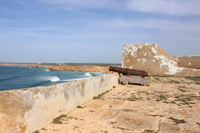 The Atlantic Ocean, as seen from Cape St. Vincent near Sagres, is particularly rough and wild, off the coast of southwestern Portugal.