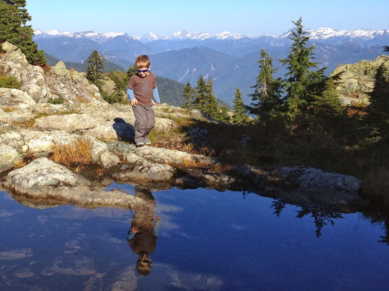 Reflection in a little tarn; just below the first peak of Mt. Seymour