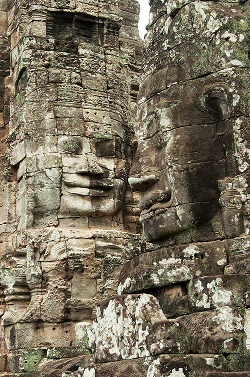 Stone faces of the Bayon temple, Angkor Thom