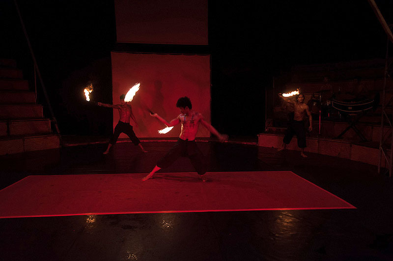 Exciting acrobatics paired with pyro performance