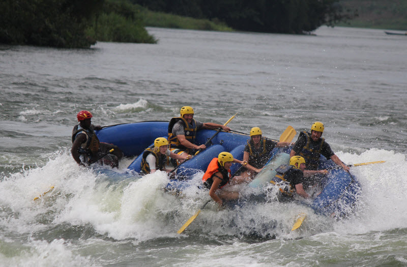 Holding on for dear life on the Nile rapids
