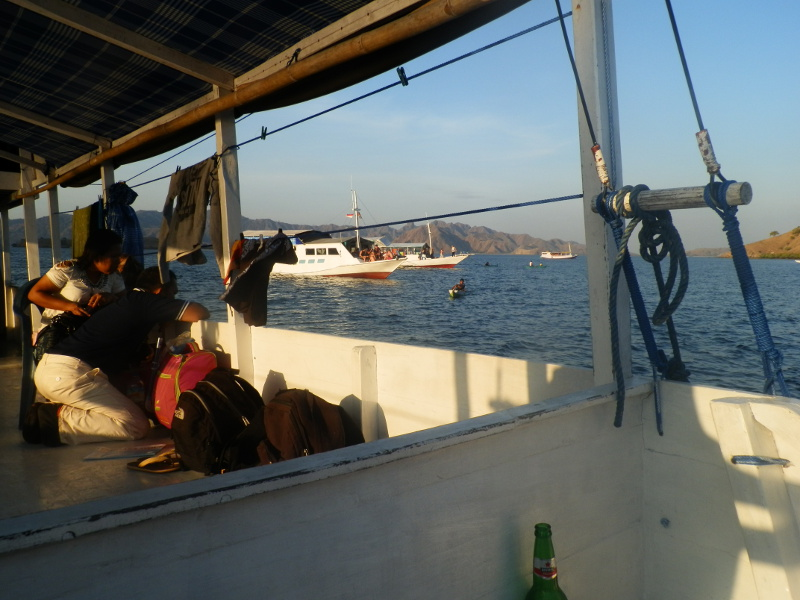 View of tour group of boats heading to Komodo Islands