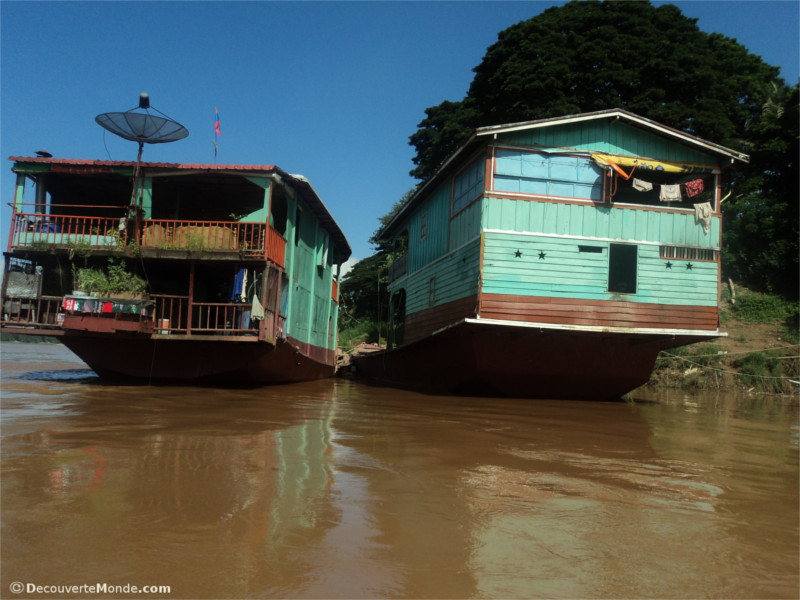 Houseboats on the Mekong in Loas