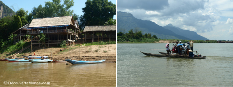 Laotian houses along the riverbanks