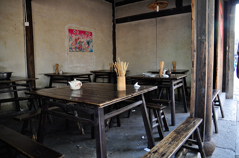 Dining tables in an old restaurant in Wuxi, China