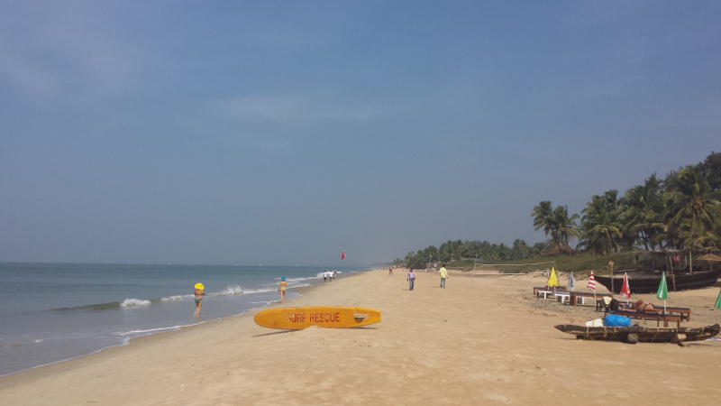 Surfers at Benaulim Beach in Goa, India