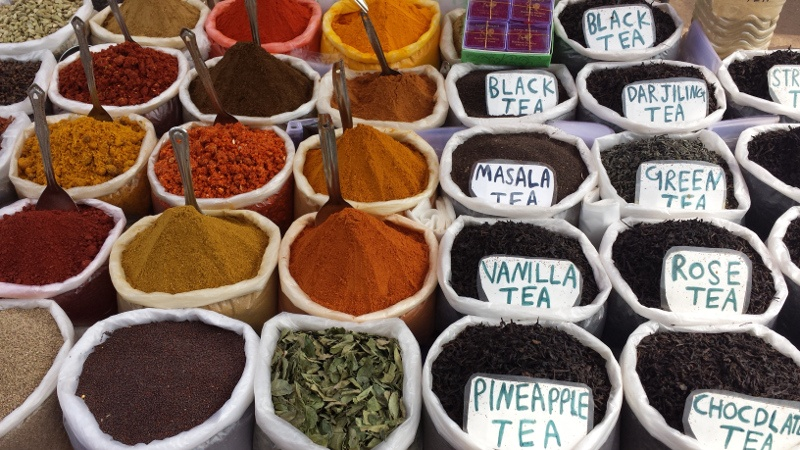 Masalas or spices in Mapusa Market, Goa, India