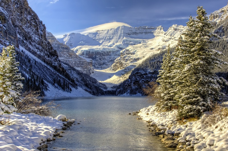 A view of Lake Louise in the winter