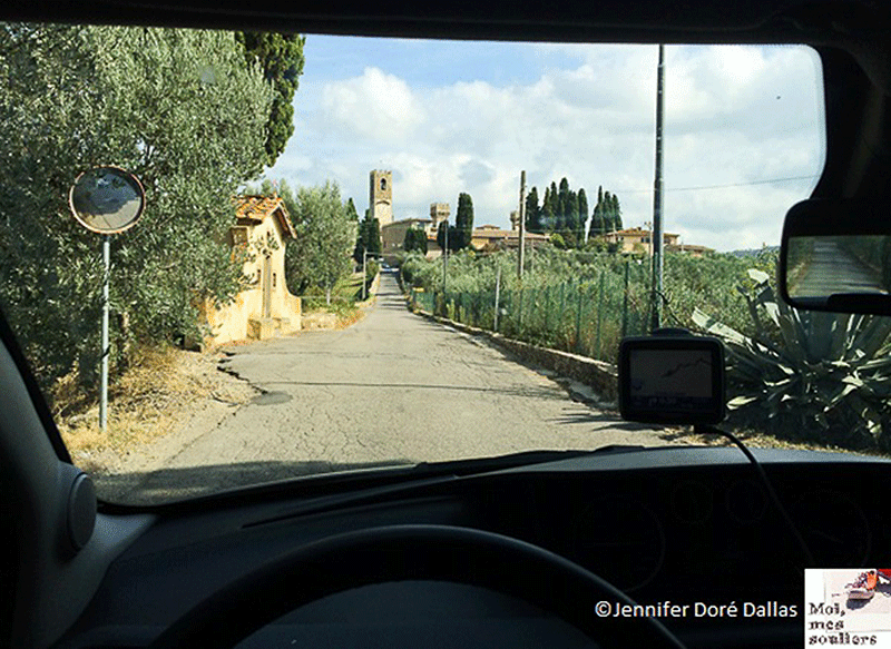 View from my rental car in Tuscany Italy