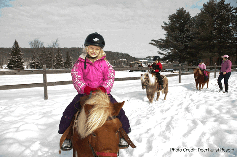 Children riding ponies in the snow at Deerhurst Resort
