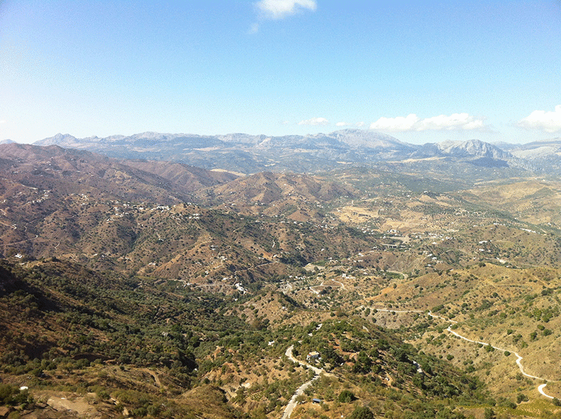 View from vehicle of the mounainside in Comares Andalucia