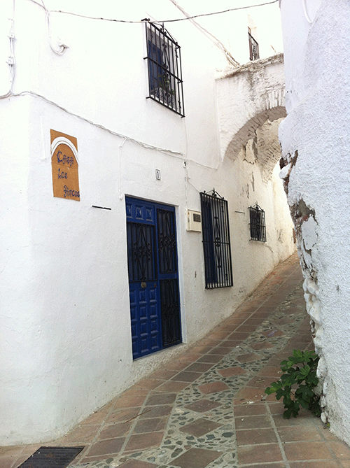 Tiled walkway in the village of Comares Andalucia at Casa Los Arcos