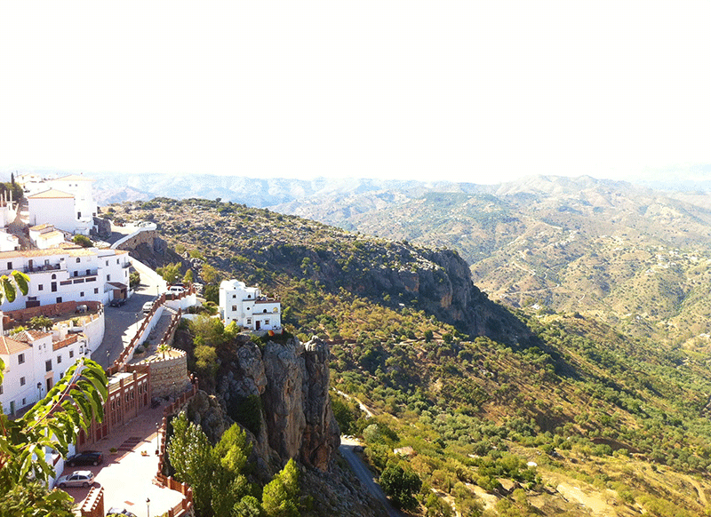 Scenic View of Comares Andalucia Village at the edge of mountain side cliffs