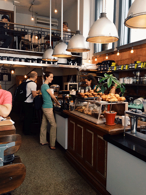View inside the Pikolo Cafe in Montreall