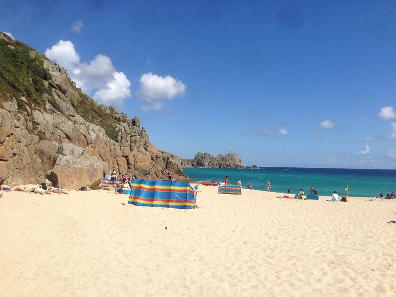 Beautiful beach in Porthcurno, England