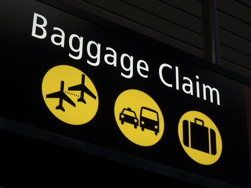 baggage claim sign airport