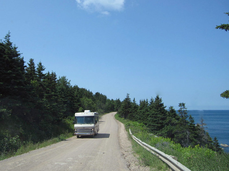 Pavement turns to gravel and the road narrows in the last stretch to Meat Cove.