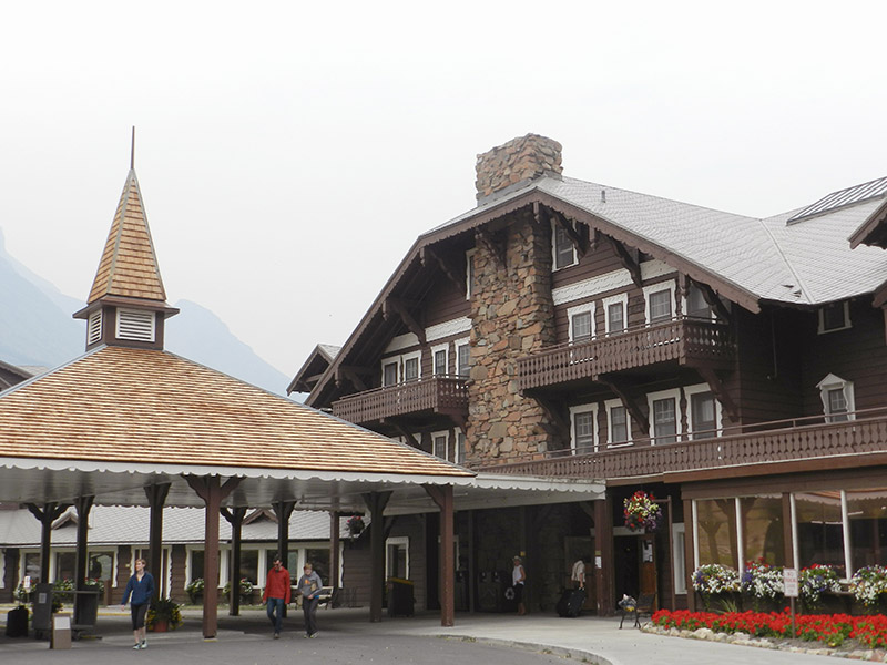 Front view of Many Glacier Resort, Montana.