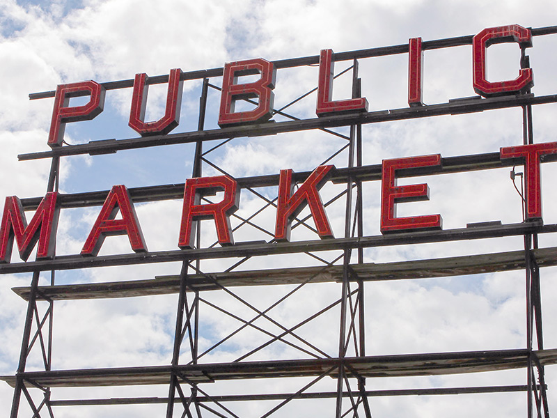 Seattle Pike Place public market sign
