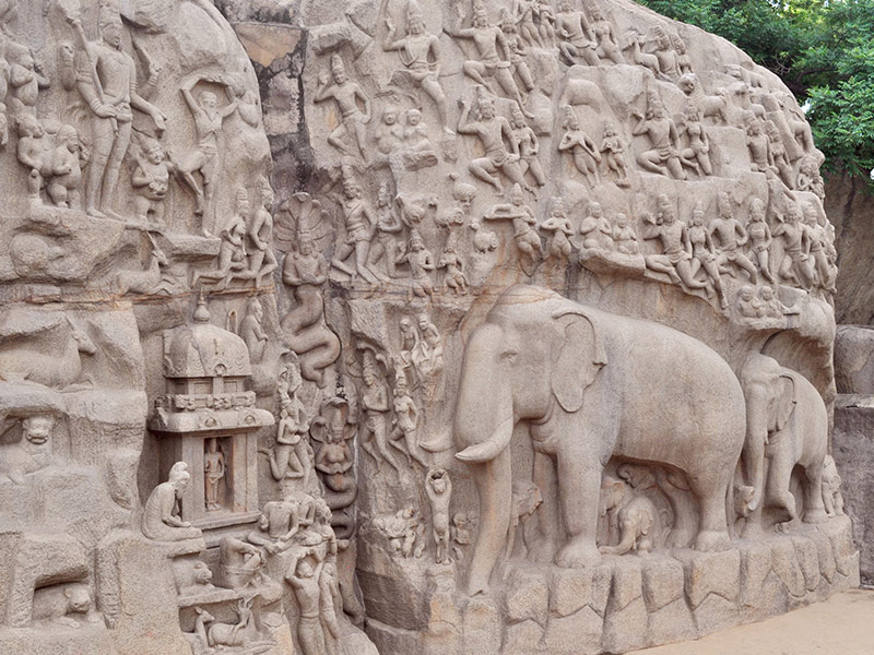 section of the bas relief in Mamallapuram, Southern India