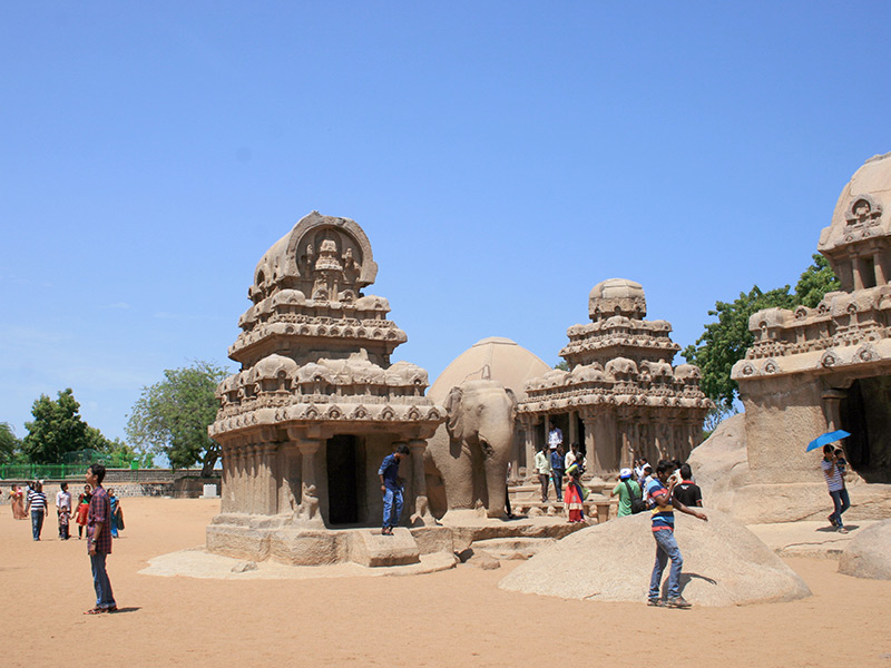 structures are built in honour of Gods and Goddesses in Mamallapuram, Southern India