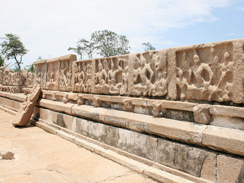 various sculptures at the Shore Temple