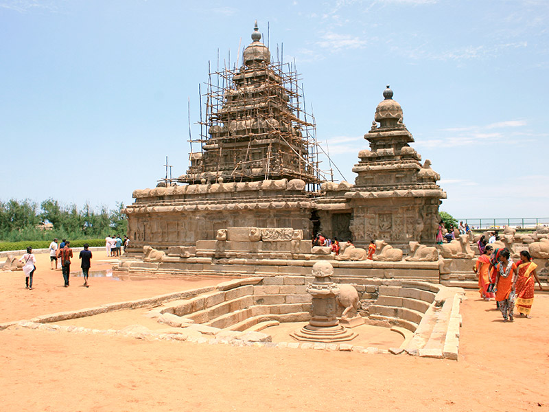 the Shore Temple and view of the beach behind