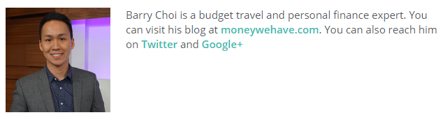 Barry Choi is a budget travel and personal finance expert. You can visit his blog at moneywehave.com