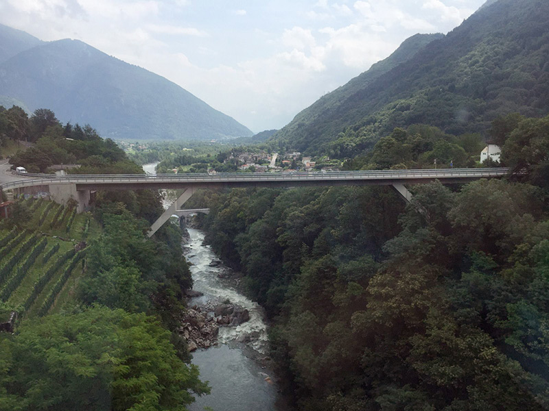 Centovalli bridge between Switzerland and Italy