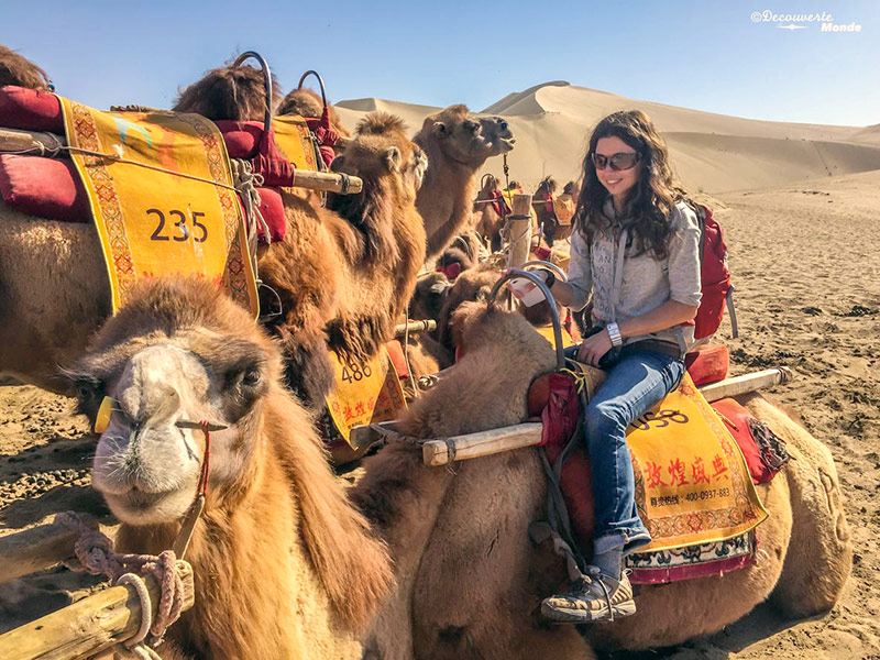 Canadian traveller on first camel ride on Silk Road of China