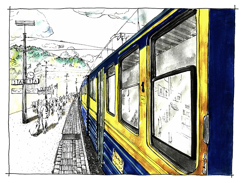 Grindelwald train station, original handrawn pen and watercolour illustration courtesy of Hyungkeun Cho, 2015. Follow Hyngkeun Cho on Instagram @nrstorage.