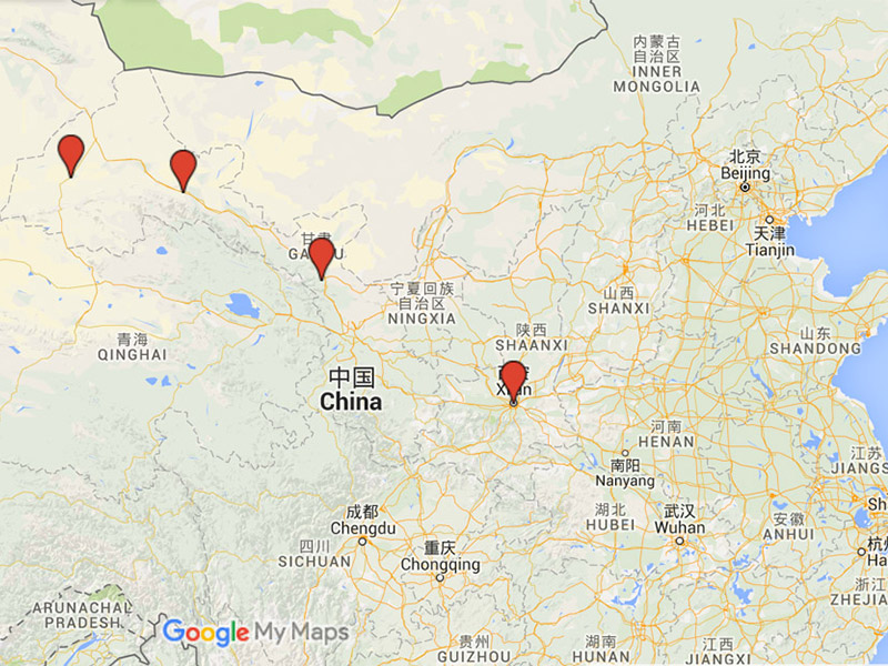 map of Chinese destinations along silk road