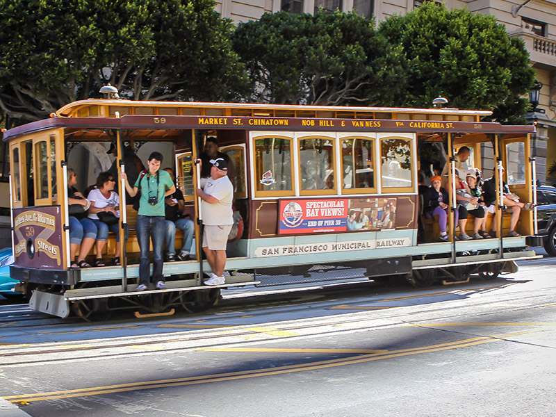 Ah, the famous cable cars of San Francisco—very scenic, but not as practical as the Muni, BART or Caltrain for getting around the Bay area!