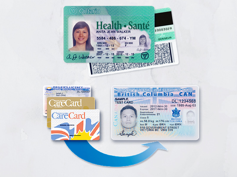 British Columbia and Ontario health insurance cards