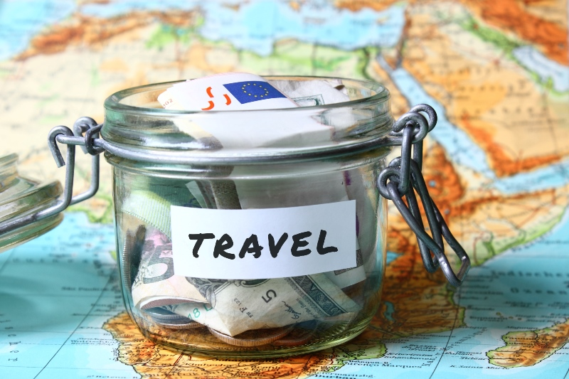 Jar of savings for a vacation