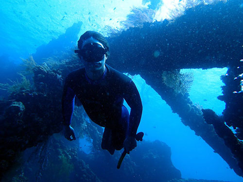 Daniel exploring the USAT Shipwreck