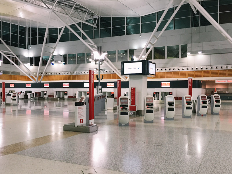 Check-in stations at the airport