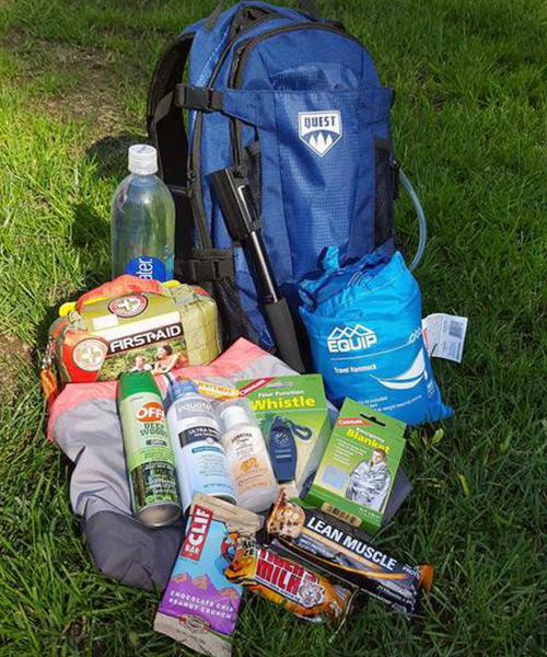 backpack and hiking supplies