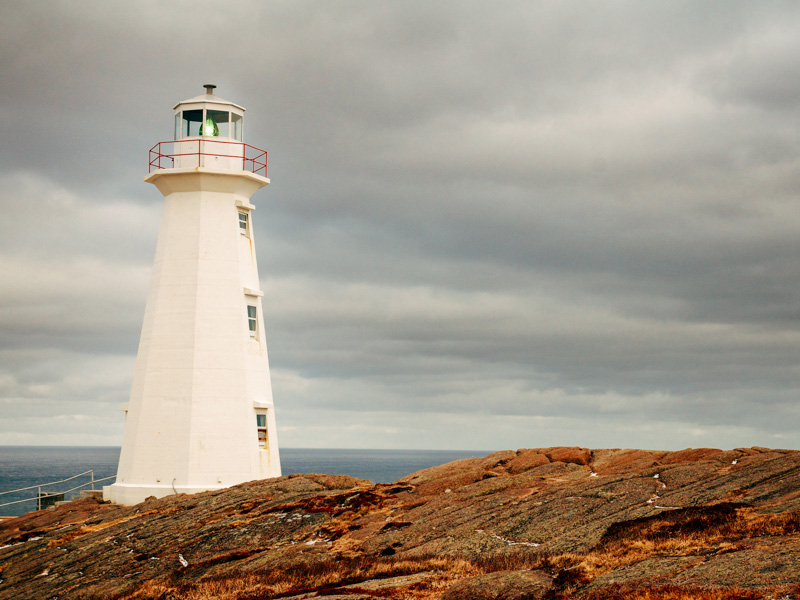 Photo of Cape Spear Lighthouse along the coast of the Atlantic Ocean in Newfoundland, Canada