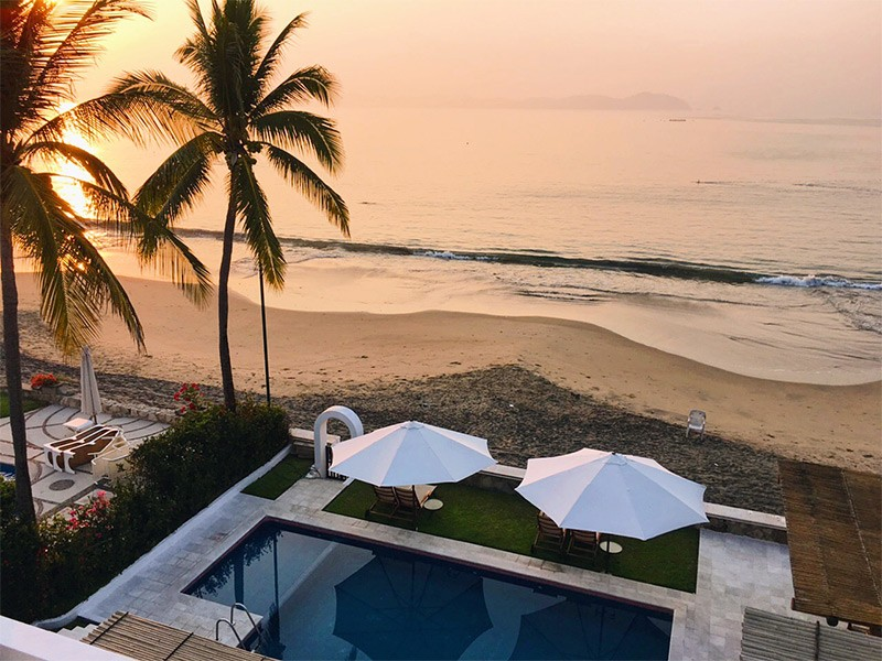 view from the beautiful house on Santiago Beach that we stay in during our vacation in Manzanillo, Mexico