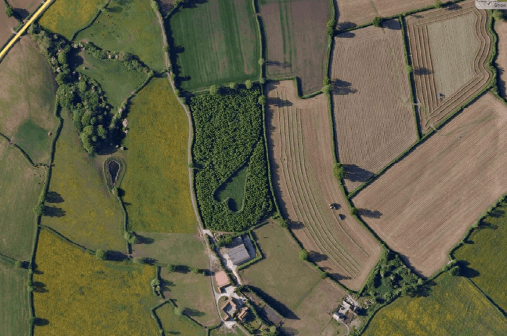 The heart-shaped meadow in Gloucestershire can be seen via satellite images. This image is via Mapquest.