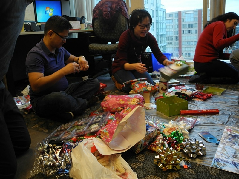 the TuGo office converted into a gift wrapping hub