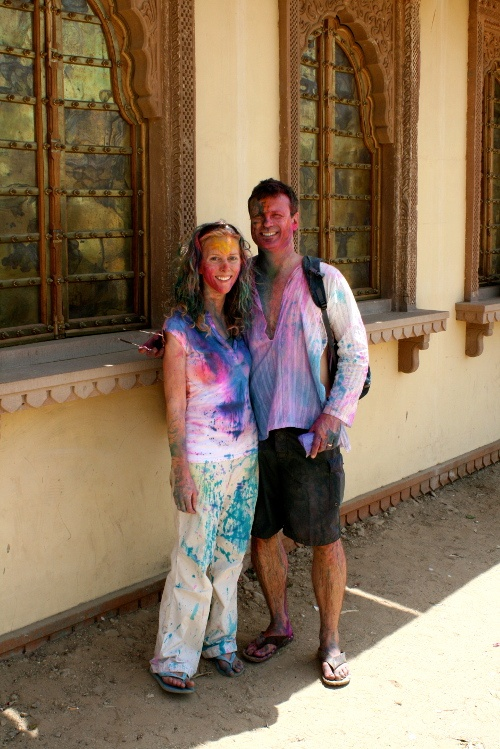 Patrick Robinson, The Traveling CEO with wife at Holi Festival