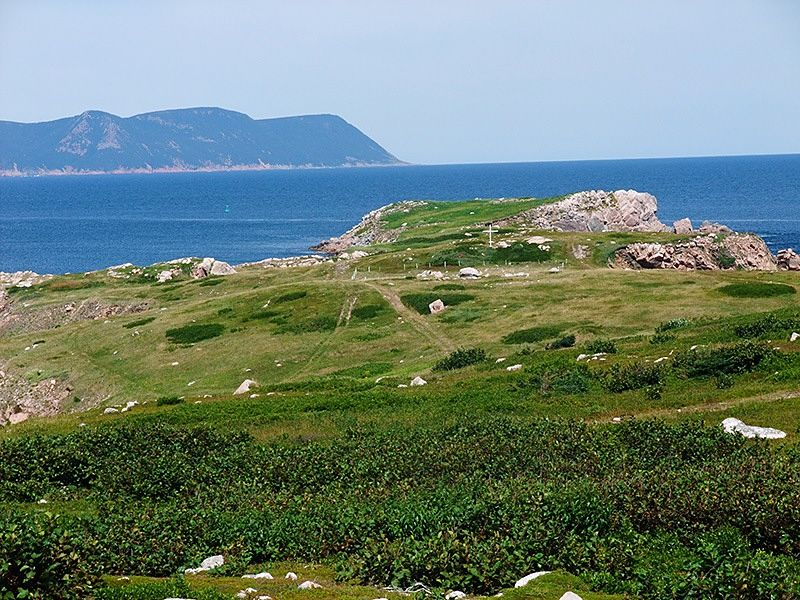 Grassy cliffs by the sea in Cape Breton, Canada